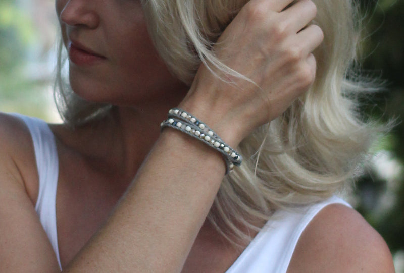 White and Gray Beaded Crystal Wrap Bracelet and Choker Necklace