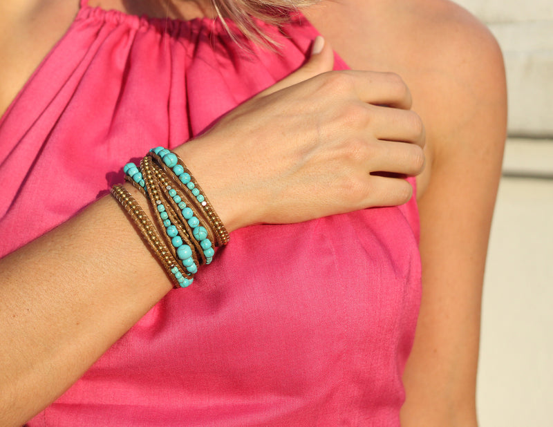 Turquoise and Gold Wrap Bracelet