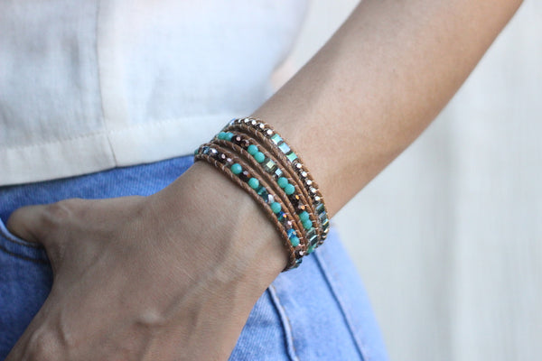 Teal and Brown Crystal Wrap Bracelet