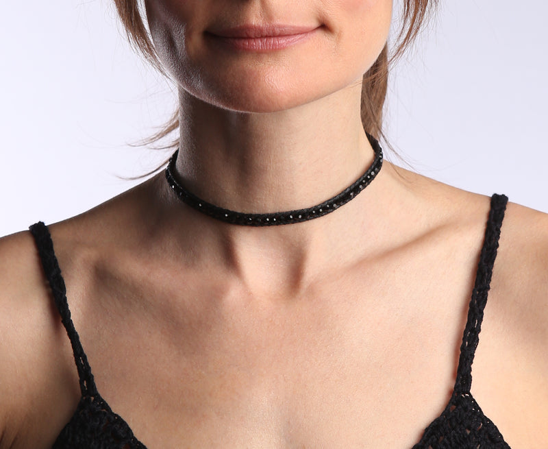Black Crystal Wrap Bracelet and Choker Necklace