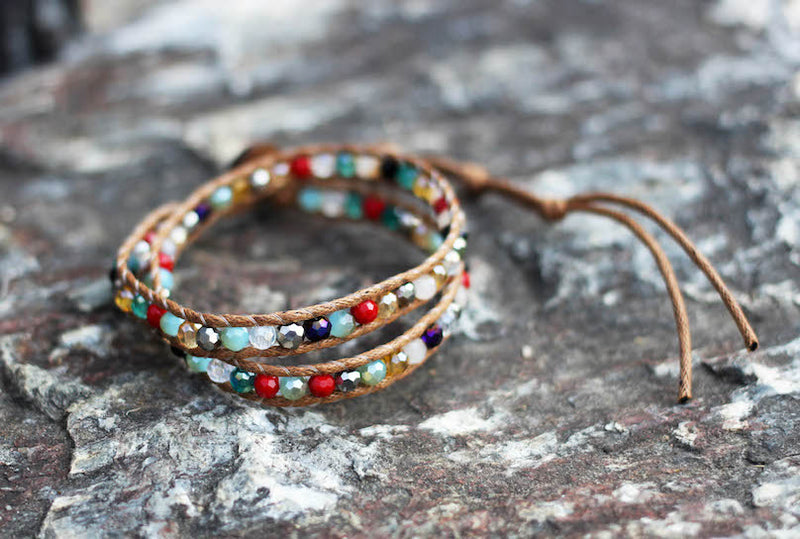Crystal Multicolored Wrap Bracelet and Choker Necklace