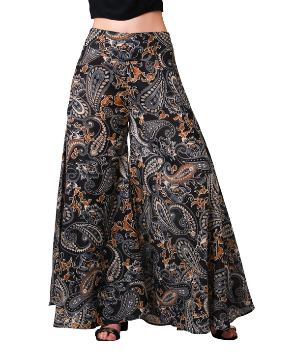 Wide Leg Palazzo Pants - Black and Gold Paisley Print