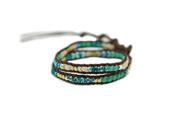 Blue and Gold Crystal Wrap Bracelet and Choker Necklace