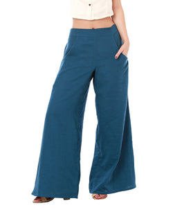 Office Casual Palazzo Pants with Pockets, Organic Cotton, Blue