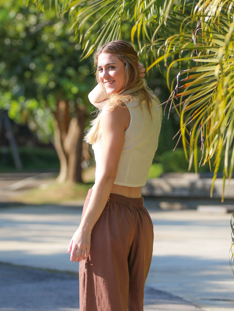 Casual Palazzo Pants with Pockets, Organic Cotton, Brown
