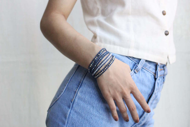 Blue and Silver Crystal Wrap Bracelet