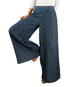 Women's Organic Cotton Palazzo Pants, Blue with White Print