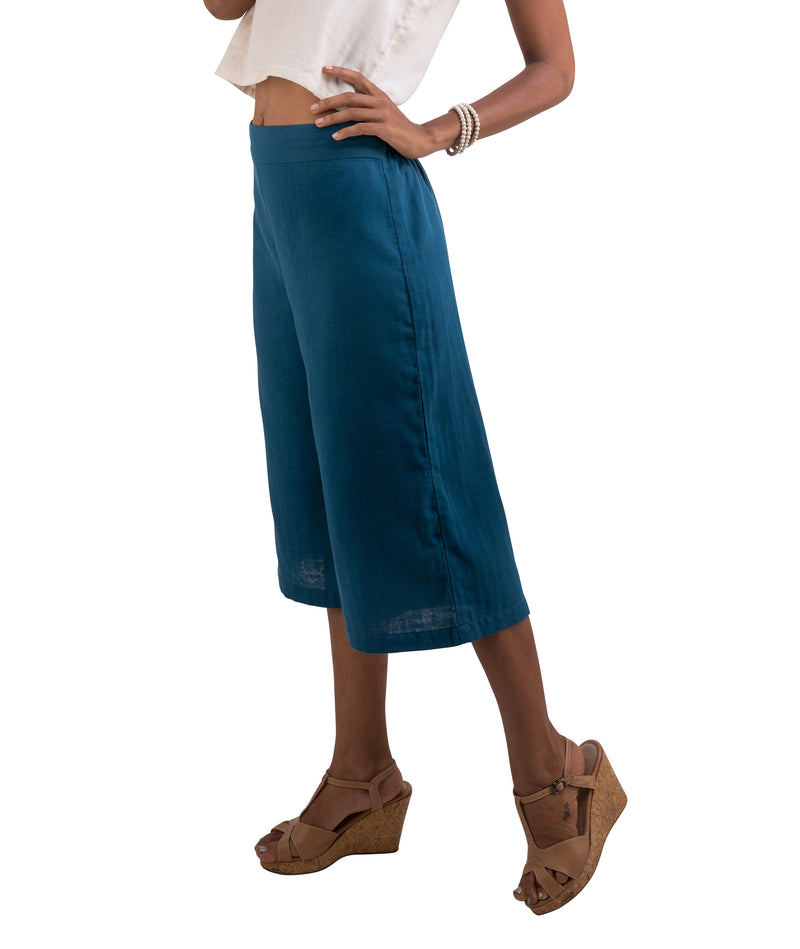 Women's Organic Cotton Gaucho Pants - Blue