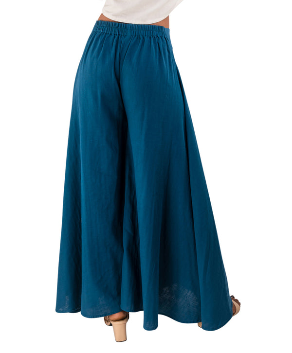 blue palazzo pants with organic cotton