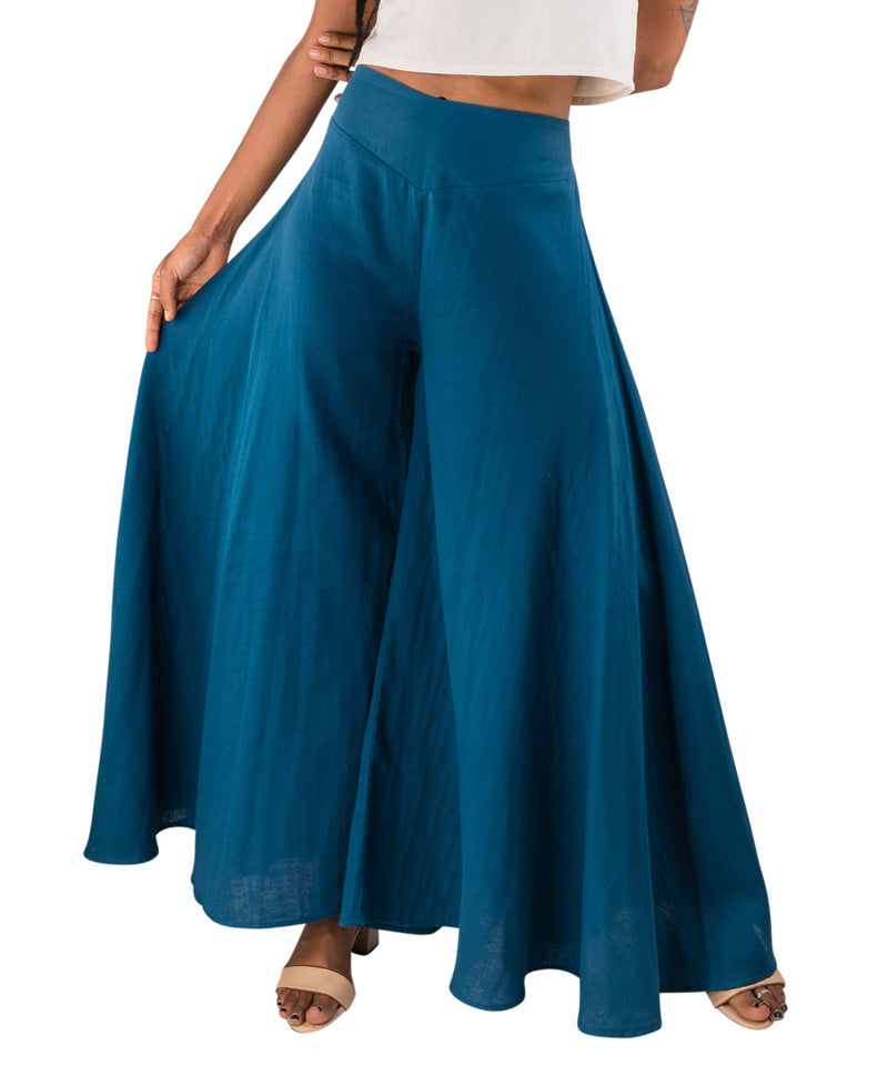 blue palazzo pants with wide leg