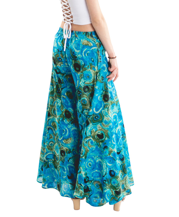 blue palazzo pants, back side
