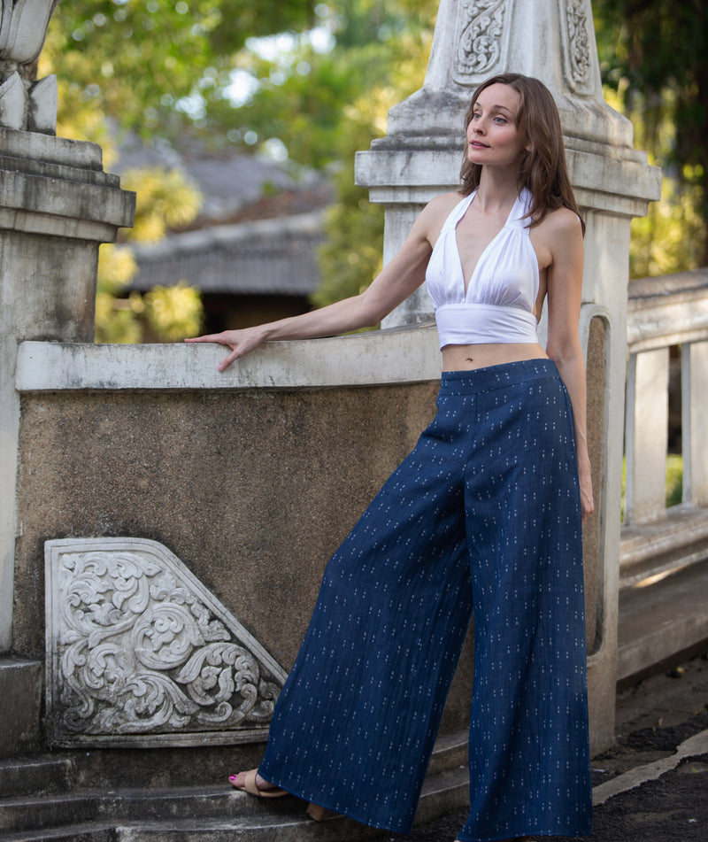 Palazzo Pants made with Organic Cotton, Blue with White Print