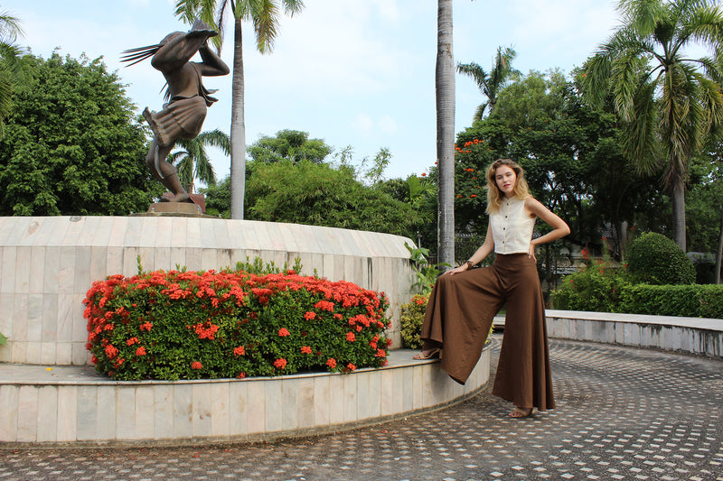 Palazzo Pants in Brown, Made with Organic Cotton