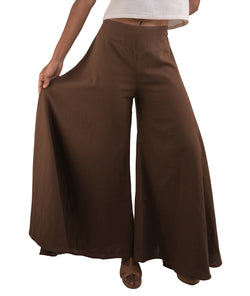 Women's Organic Cotton Palazzo Pants - Brown