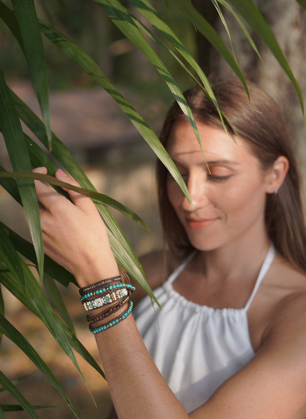 Turquoise, White and Gold Wrap Bracelet