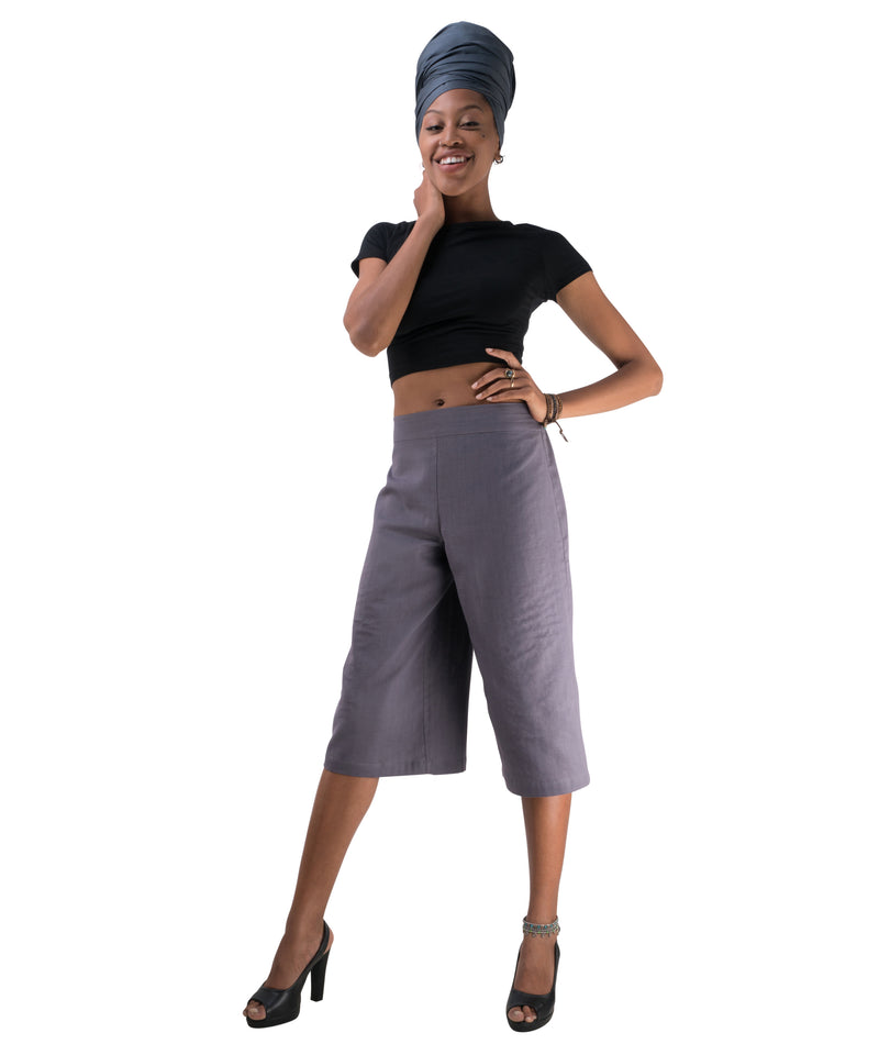 Women's Organic Cotton Gaucho Pants - Gray