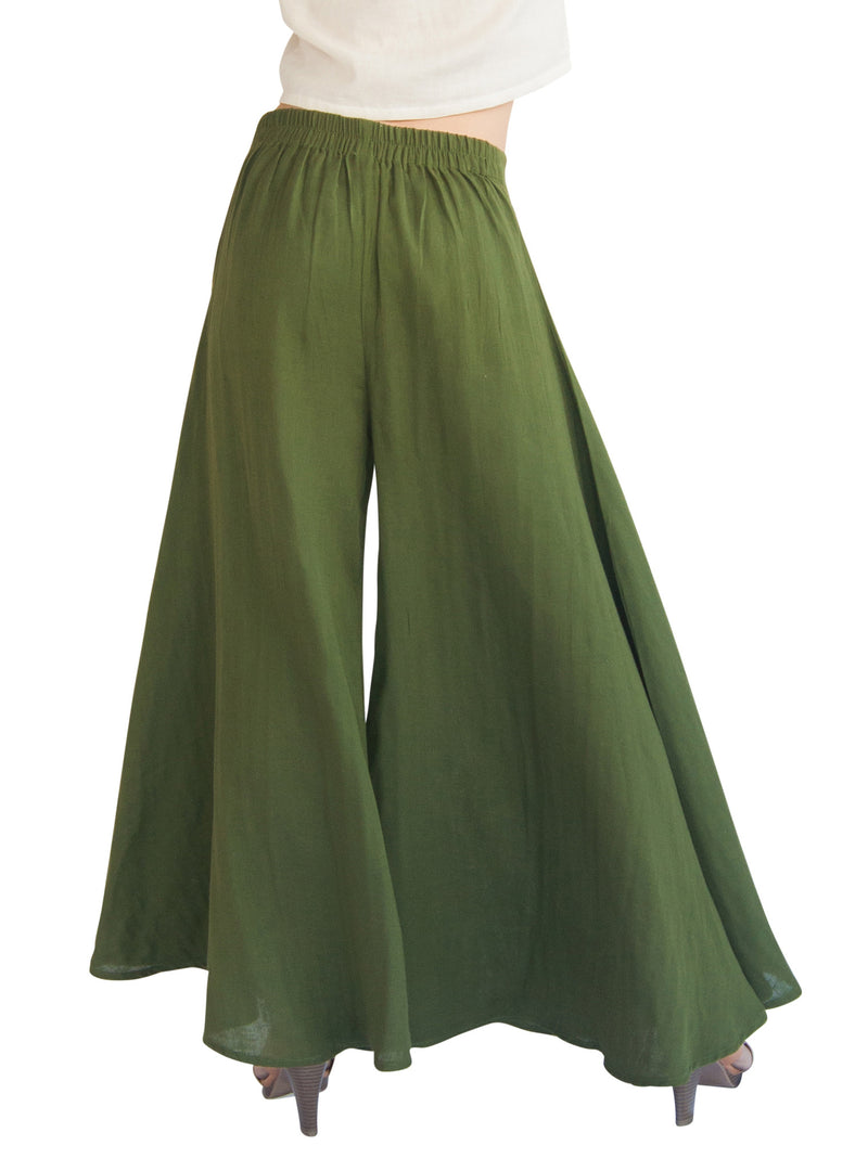 green palazzo pants with elastic waist