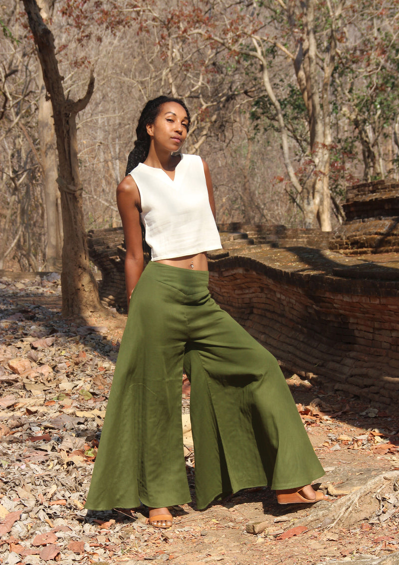 Palazzo Pants in Hunter Green, Made with Organic Cotton