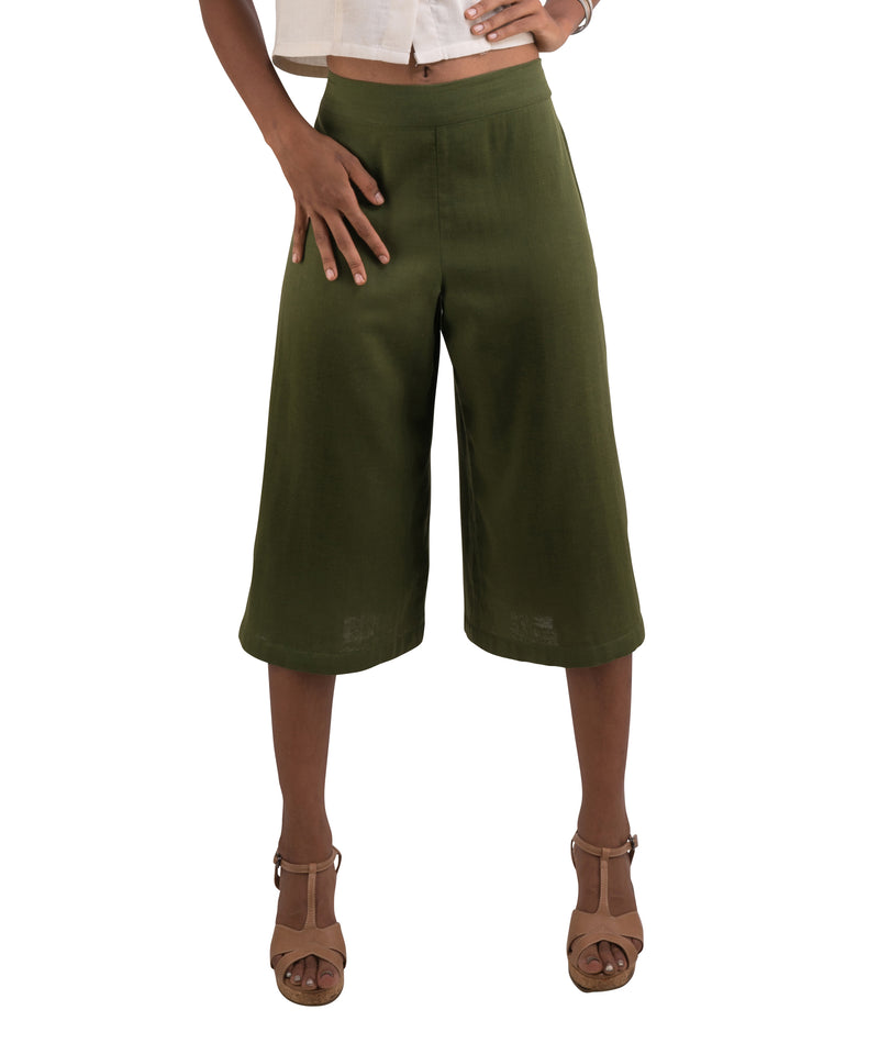 green cotton capris