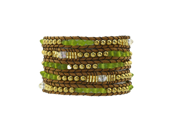 Green and Gold Wrap Bracelet