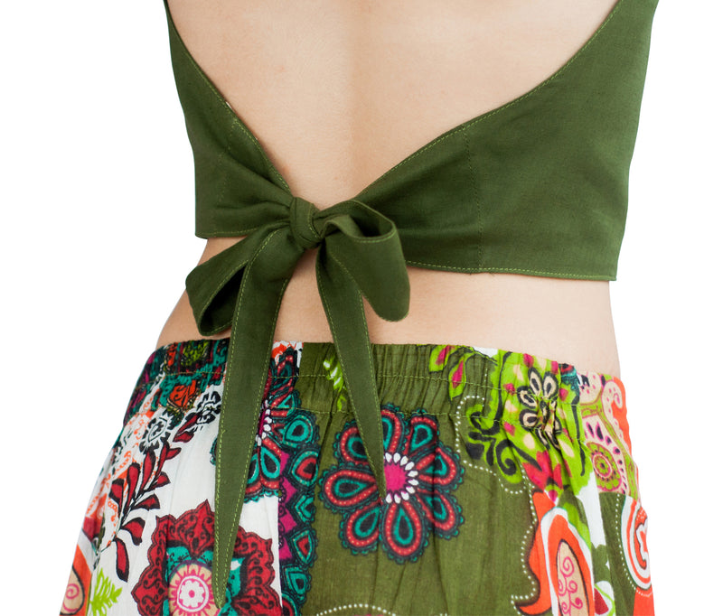 Women's Handkerchief Halter Top Hunter Green