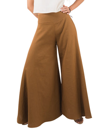 khaki palazzo pants close up