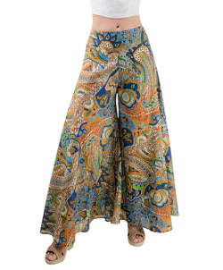 Women's Wide-Leg Palazzo Pants - Orange and Blue Paisley Print