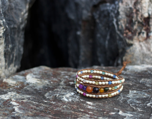 Multicolored Stone Wrap Bracelet