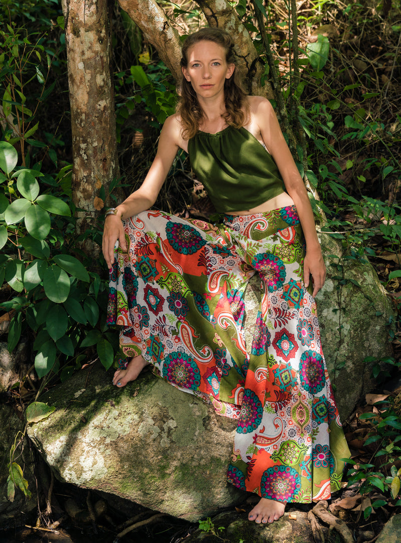 Wide Leg Palazzo Pants - Orange and Green Print