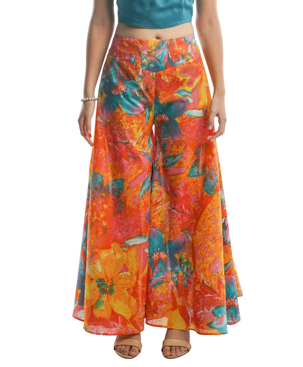Wide Leg Palazzo Pants - Pink and Blue Print