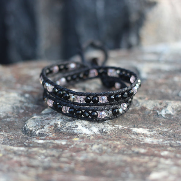 Black and Pink Crystal Wrap Bracelet and Choker Necklace