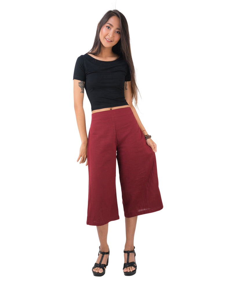 Women's Organic Cotton Gaucho Pants - Red
