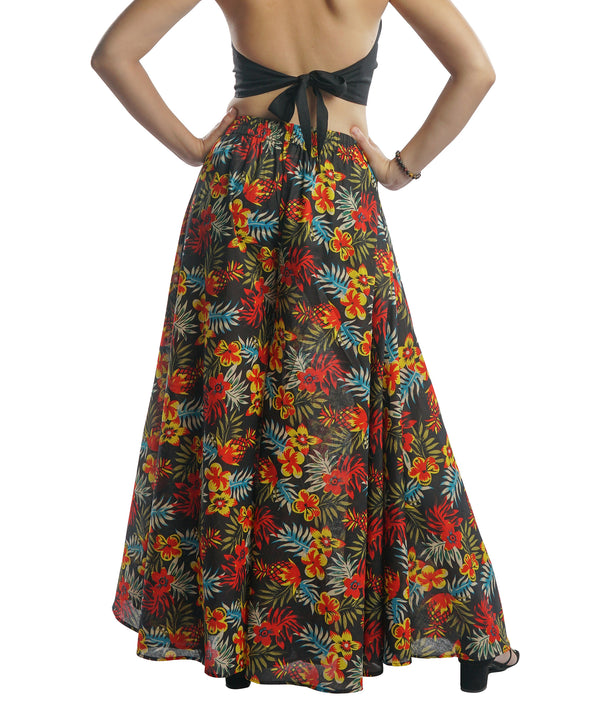 Wide Leg Palazzo Pants - Black with Small Flowers Print