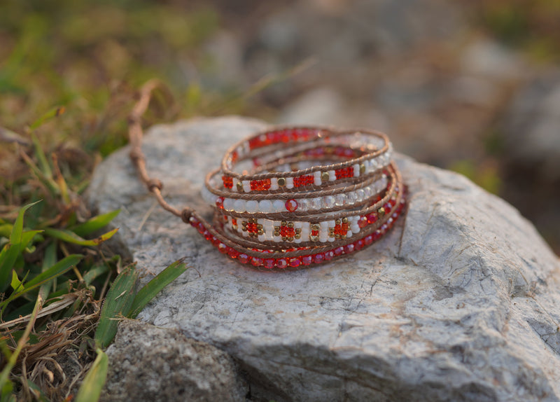 Red and White Wrap Bracelet - Valentine's Day Gift