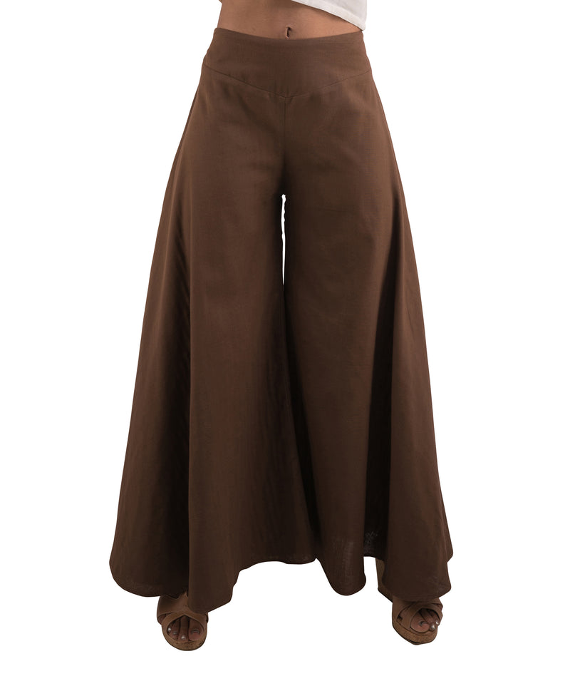 women's cotton palazzo pants in brown