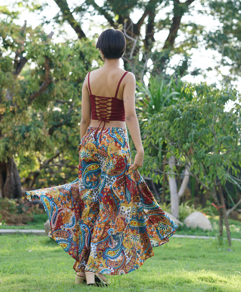 girl wearing colorful palazzo pants