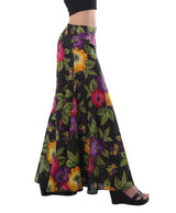 Wide Leg Palazzo Pants - Black with Floral Print