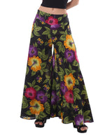 Women's Organic Cotton Gaucho Pants - Black and White Floral Print
