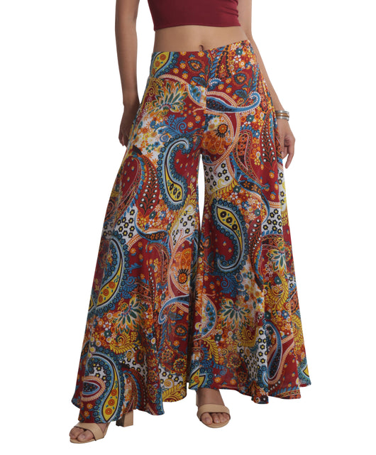 red and blue paisley print palazzo pant