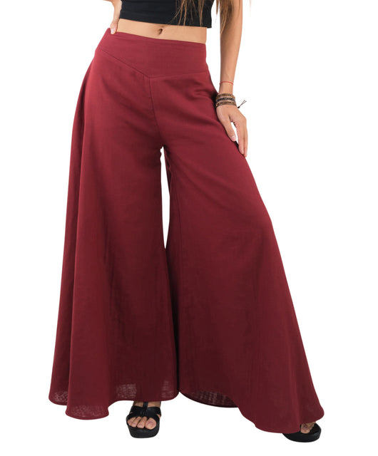 Women's Organic Cotton Palazzo Pants - Red