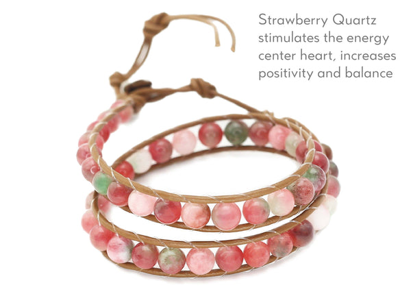 Strawberry Quartz Healing Stones Wrap Bracelet/ Choker Necklace on Leather Cord