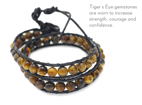 Tiger's Eye Healing Stones Wrap Bracelet/ Choker Necklace on Leather Cord