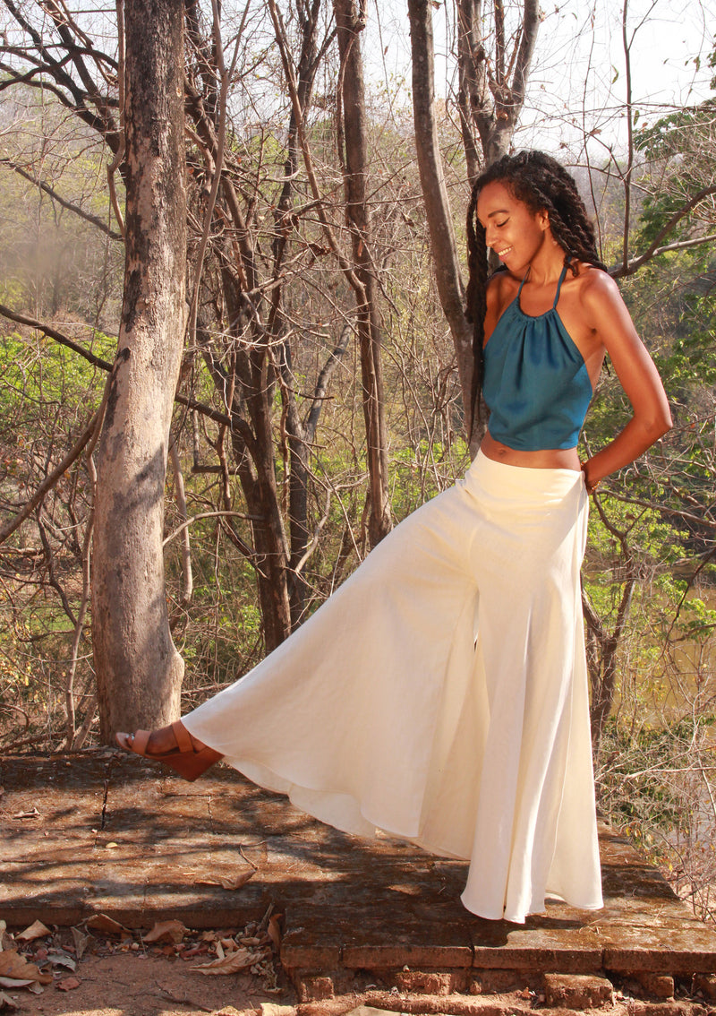wide leg palazzo pants in white