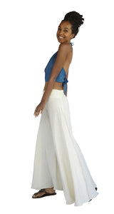 Women's Organic Cotton Palazzo Pants - Natural White