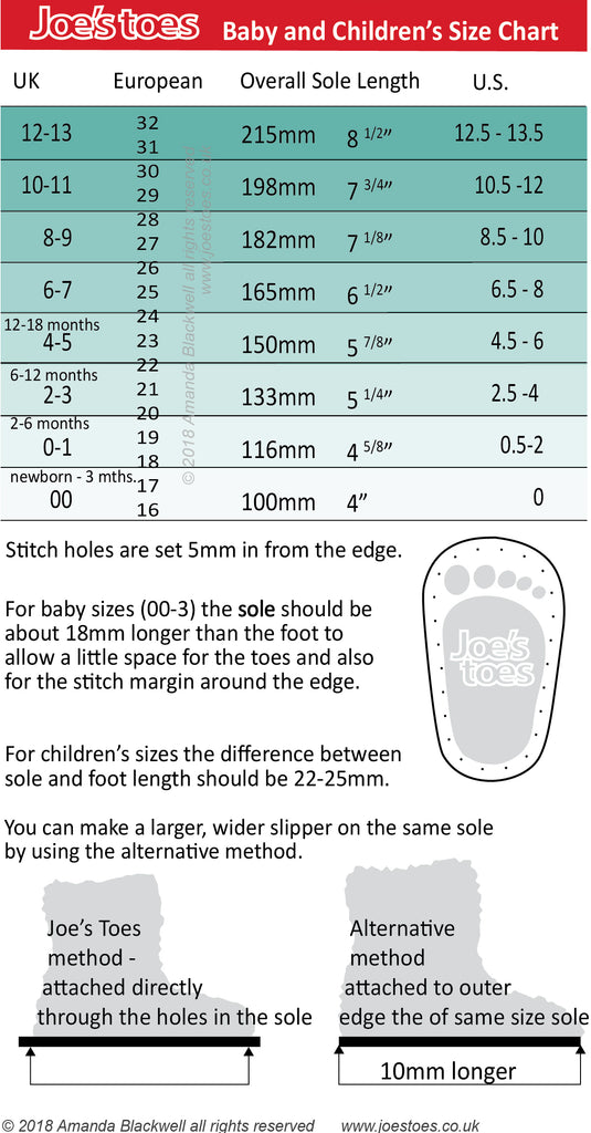 Joe's Toes size chart for babies and children