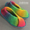 Joe's toes rainbow knitted slippers