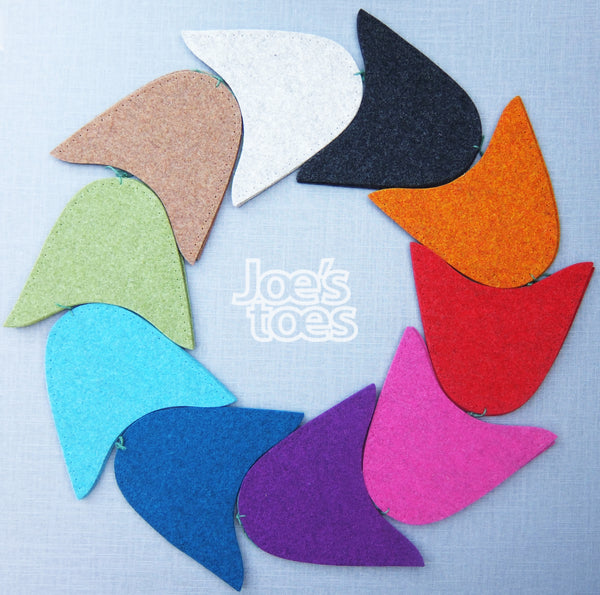Joe's Toes wool felt slipper tops in 10 colours