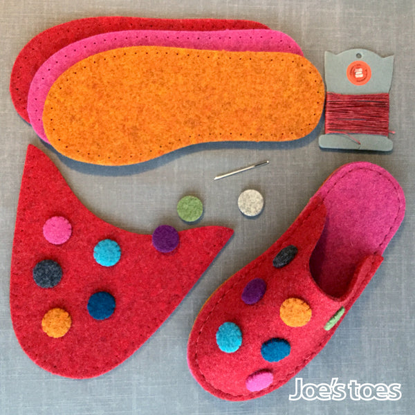 Joe's Toes Dotty slipper kit includes all the parts you need for making your own  slippers in cozy wool felt with cute spot design