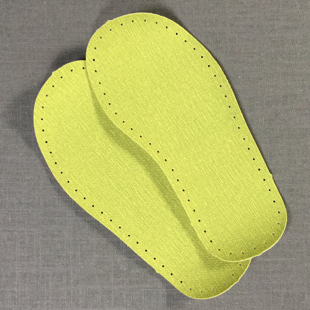 Joe's Toes slipper soles in wipe-clean vinyl in lime