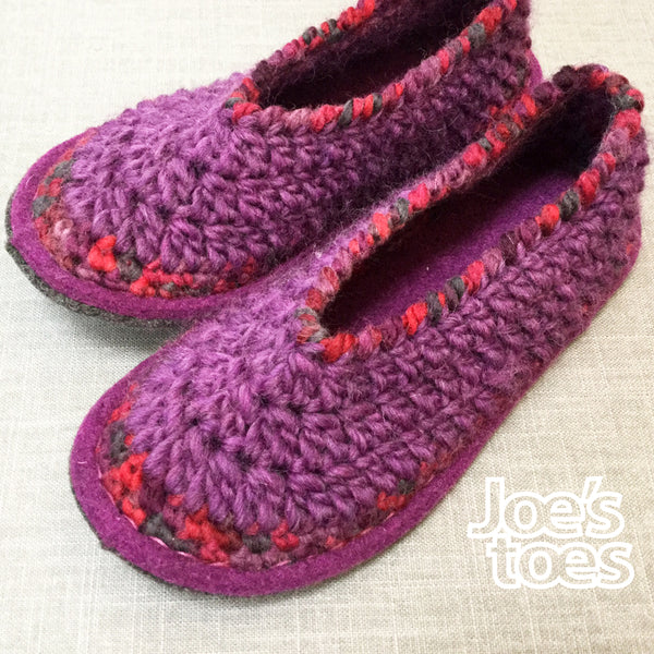 Joe's Toes Sarah Slipper kit in Crochet - Purple mix - ladies' sizes 3-14